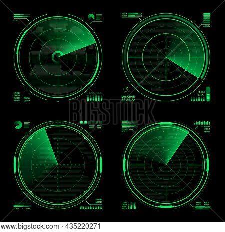 Hud Military Radar Or Vector Navy Sonar Display Screen Interface Of Navigation System. Futuristic Di