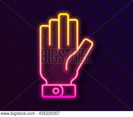 Glowing Neon Line Firefighter Gloves Icon Isolated On Black Background. Protect Gloves Icon. Vector