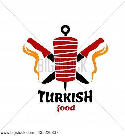 Turkish Cuisine Food Icon. Isolated Vector Doner Kebab Or Shawarma And Chef Knives. Turkish Fast Foo