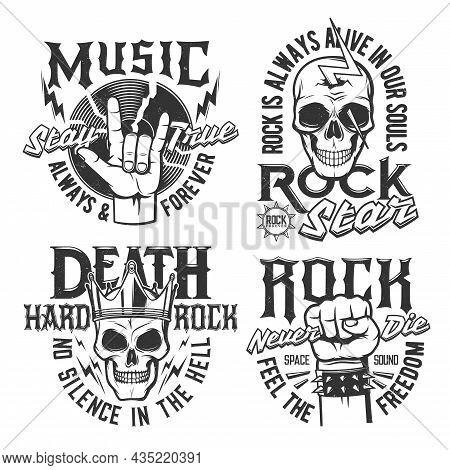 Hard Rock Skull T-shirt Prints, Rock Music Concert Vector Icons And Badges. Hard Rock Music Festival