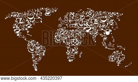 Steaming Coffee Cups, Pots And Beans Vector World Map. Freshly Brewed Espresso, Cappuccino Or Latte,