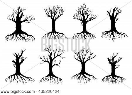 Dead And Withered Tree Vector Silhouettes Of Environment And Ecology Design. Old Dry Crooked Tree Is