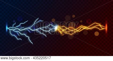 Lightning Thunderbolt Against Short Circuit Flash, 3d Vector On Transparent Background. Electric Ene