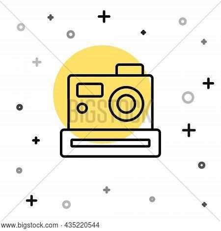 Black Line Photo Camera Icon Isolated On White Background. Foto Camera. Digital Photography. Random