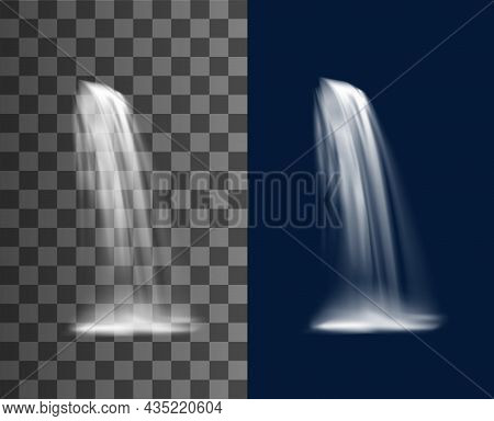 Waterfall Or Water Cascade, Realistic Vector Water Fall On Transparent Background. 3d Foggy Waterfal