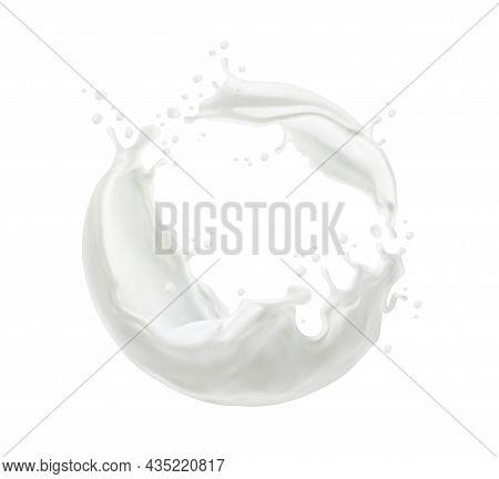 Milk Twister Or Swirl Splash With Splatters And White Milky Drops Flow, Realistic Vector. Milk Splas