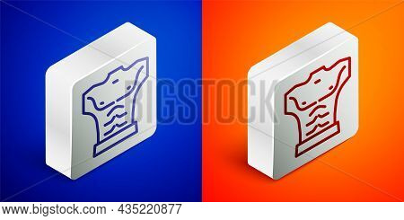 Isometric Line Bodybuilder Showing His Muscles Icon Isolated On Blue And Orange Background. Fit Fitn