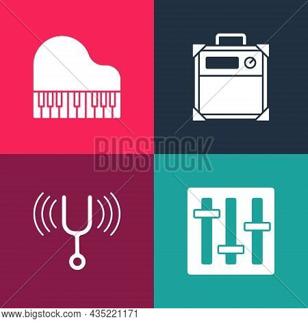 Set Pop Art Sound Mixer Controller, Musical Tuning Fork, Guitar Amplifier And Grand Piano Icon. Vect
