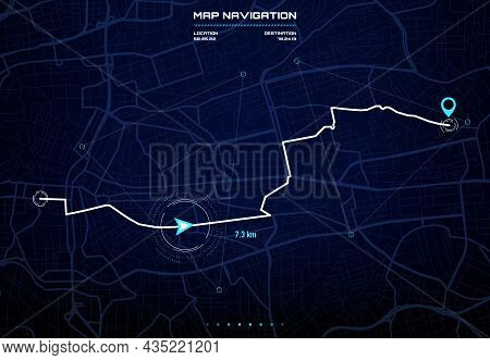 Route Dashboard With City Map Navigation Interface. Car Gps Navigator Screen, Future Autopilot Syste