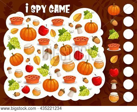 I Spy Game, Thanksgiving Harvest And Autumn Items, Vector Cartoon Find And Match Riddle. Kids Tablet