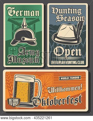 Travel To Germany Vector Retro Banners. German Army Museum, Bavarian Hunting Club, Oktoberfest. Tour