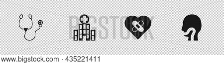 Set Stethoscope, Medical Hospital Building, Healed Broken Heart And Sore Throat Icon. Vector