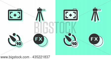 Set Photo Camera Fx, , Camera Timer And Tripod Icon. Vector