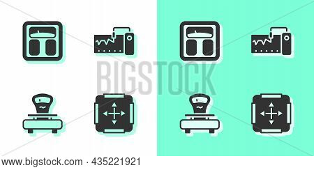 Set Area Measurement, Bathroom Scales, Scales And Measuring Instrument Icon. Vector
