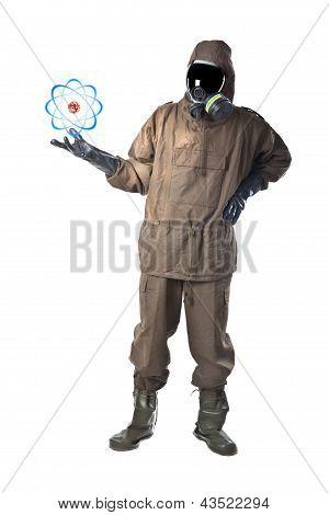 Man In Hazard Suit Holding An Atom