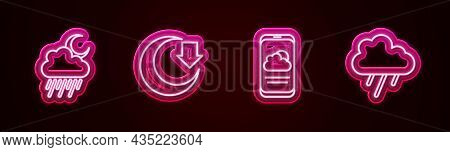 Set Line Cloud With Rain And Moon, Moon, Weather Forecast And . Glowing Neon Icon. Vector
