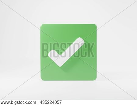 Green Tick Check Mark Symbols Icon Element. Yes Shape Button For Correct Sign In Square Approved, Si