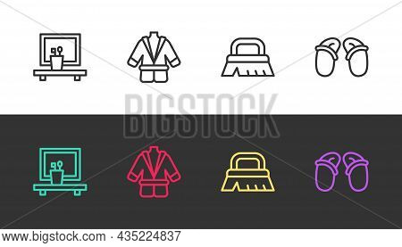 Set Line Washbasin Mirror, Bathrobe, Brush For Cleaning And Flip Flops On Black And White. Vector
