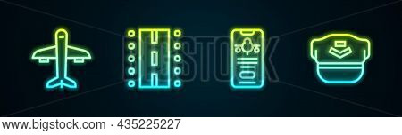 Set Line Plane, Airport Runway, Mobile With Ticket And Pilot Hat. Glowing Neon Icon. Vector