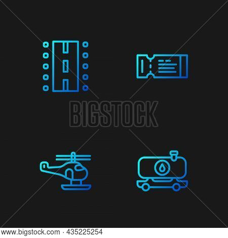 Set Line Fuel Tanker Truck, Helicopter, Airport Runway And Airline Ticket. Gradient Color Icons. Vec