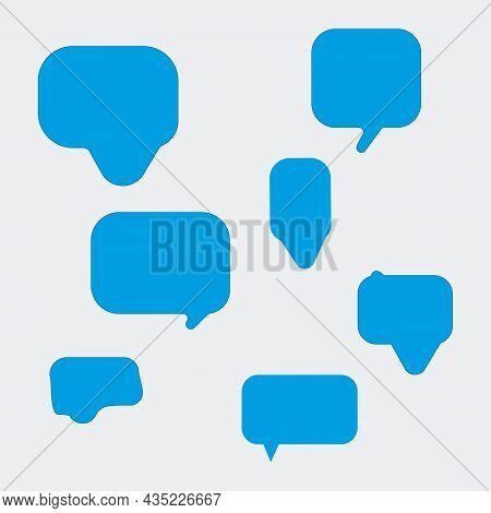 Blue Comic Rectangle Dialogue Icon. Message Sign. Mobile Template Design. Art Lines. Vector Illustra