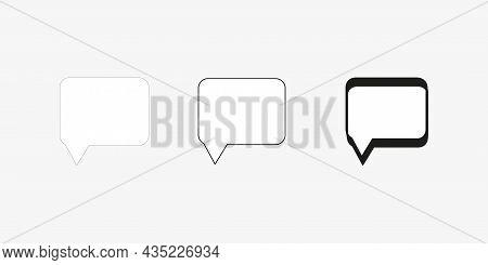 Square Dialogue Icon Set. Black Silhouette Signs. Communication Concept. Chart Emblem. Vector Illust