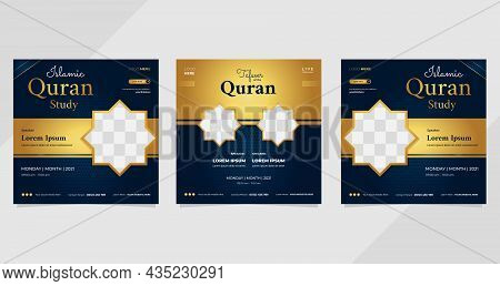 Set Of Social Media Post Templates On Luxury Dark Blue And Gold Background. Perfect For Islamic Webi