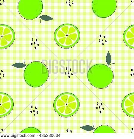 Seamless Pattern Hand Drew Green Lemon-lime Background And With Square Grid Checkerboard As Wallpape