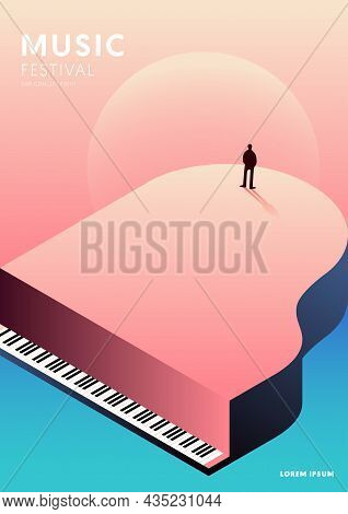 Music Poster Decorative With Gradient Piano Design Template Background Modern Art Style. Design Elem