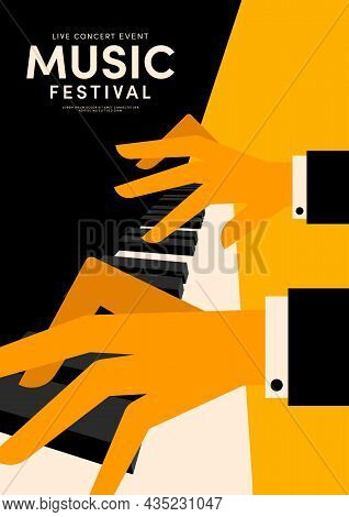Music Poster Decorative With Pianist Playing Piano Design Template Background Vintage Retro Style. D