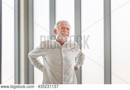 Senior Man With Back Pain, Mature Man Suffering From Low Back Pain, Old Man With Back Pain