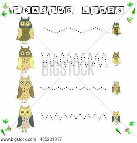 Tracing Lines Game With Funny Animals Owl. Worksheet For Preschool Kids, Kids Activity Sheet, Printa