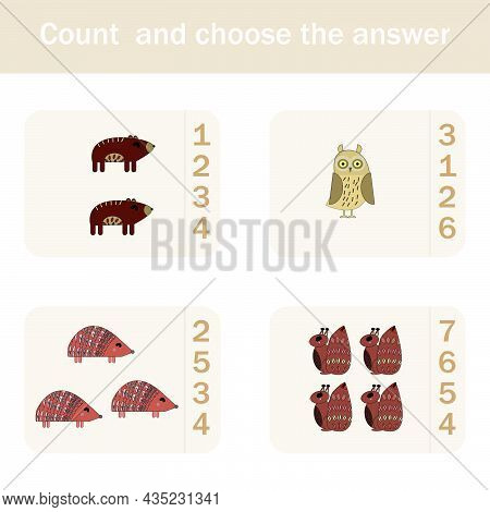 How Many Counting Game With Funny Forest Animals, Squirrels, Bears, Hedgehogs, Owls. Preschool Works
