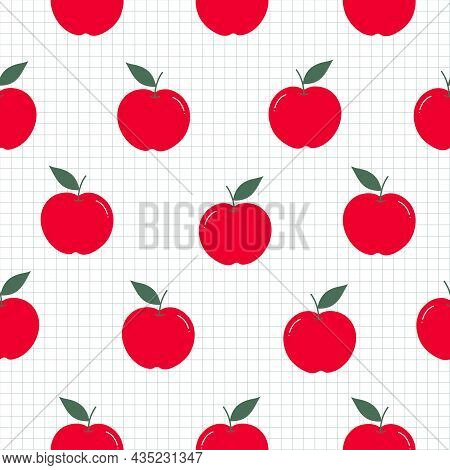 Red Apple Background Seamless Pattern The Pattern Is Randomly Scattered And Has A Square Grid As A W