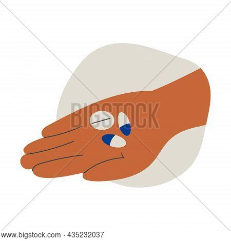 Hand Holding Pills Tablet Drugs Capsules Or Vitamins In Open Palm. Pharmacy, Drug Store, Medicine. H