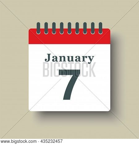 Icon Day Date 7 January, Template Calendar Page