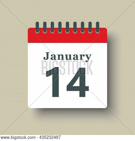 Icon Day Date 14 January, Template Calendar Page