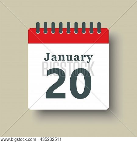 Icon Day Date 20 January, Template Calendar Page