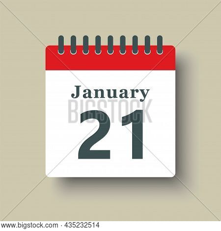 Icon Day Date 21 January, Template Calendar Page