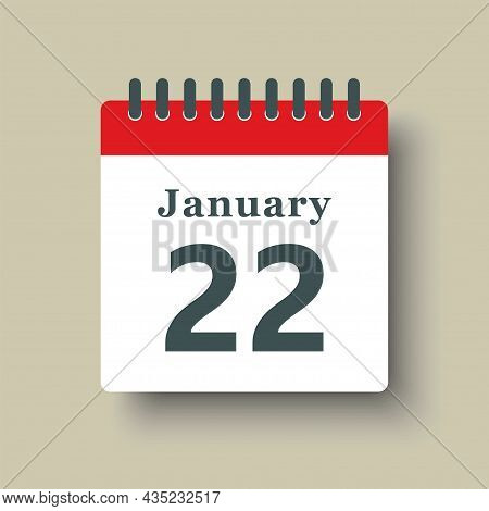 Icon Day Date 22 January, Template Calendar Page