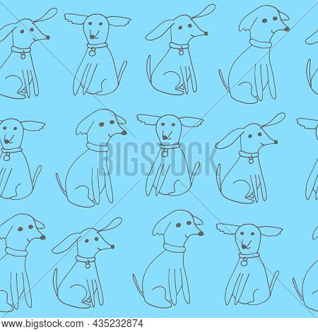 Dogs Seamless Pattern. Hand Drawn Doodle Icon. Vector, Scandinavian, Minimalism. Pets Animals Textil