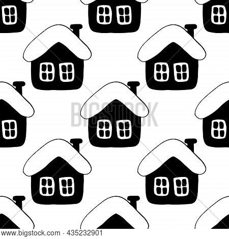 Huts Houses Seamless Pattern Hand Drawn Doodle. Vector, Minimalism, Monochrome. Textiles, Wrapping P