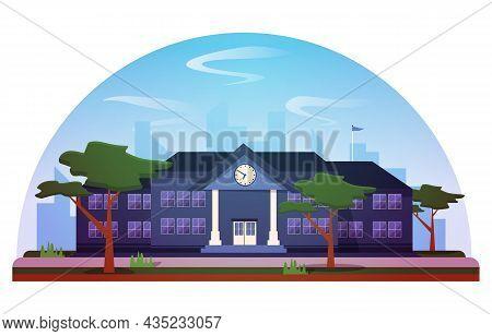 Elementary High School Building Study Education Vector Illustration