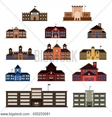 Elementary High School Building Vector Icon Illustration Set Isolated