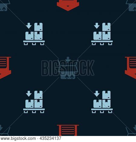 Set Warehouse, Carton Cardboard Box And Cardboard Boxes Pallet On Seamless Pattern. Vector