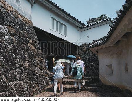 People Visit Himeji Castle, Japan