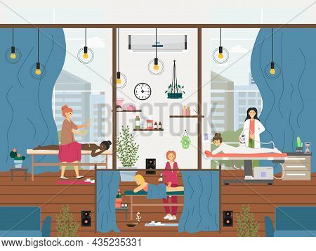 People Getting Leg, Back, Lpg Anti Cellulite Massage Therapy, Vector Illustration. Body Relax. Spa A