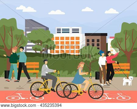 Happy People Riding Bicycle, Walking With Dog, Taking Selfie In City Park, Vector Illustration. Outd