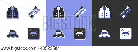 Set Winter Fishing, Fishing Jacket, Fisherman Hat And Oars Or Paddles Boat Icon. Vector