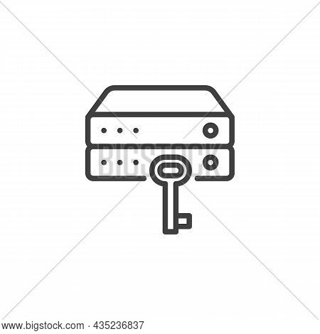 Data Encryption Line Icon. Linear Style Sign For Mobile Concept And Web Design. Database System Key
